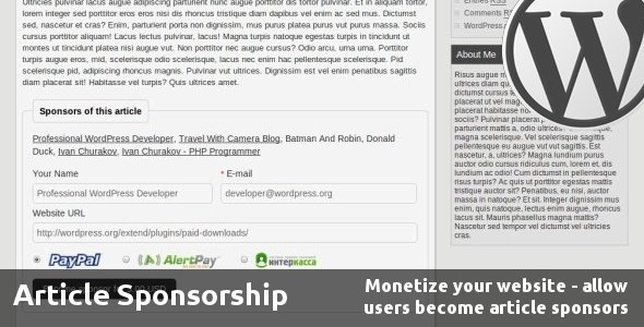 Article Sponsorship - CodeCanyon Item for Sale