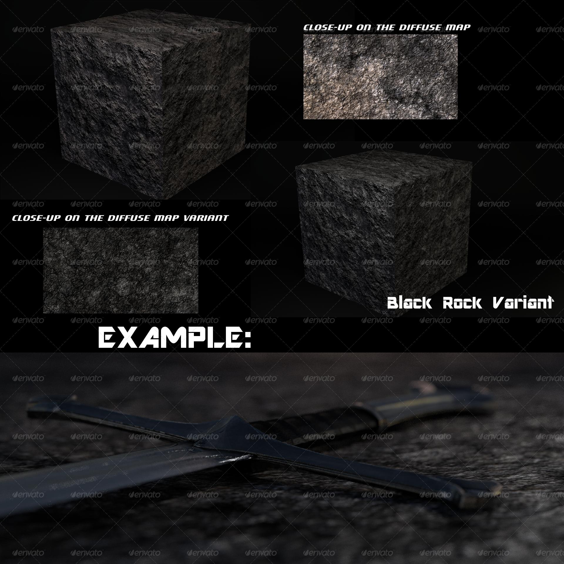 3DOcean Black Rock Terrain Tileable Plus Bonus Variant 2018427