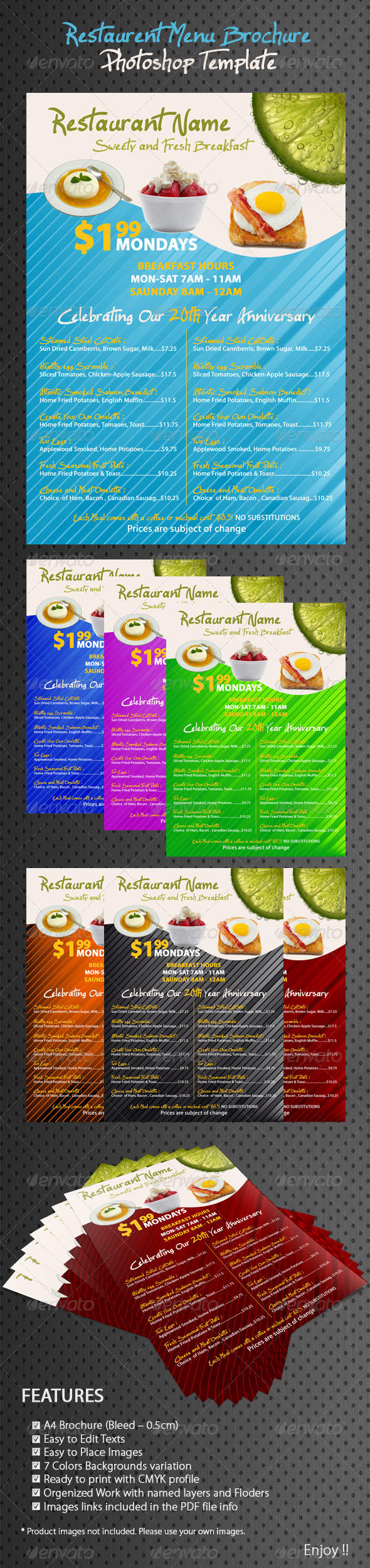 Restaurant/Coffee Breakfast Menu - Food Menus Print Templates