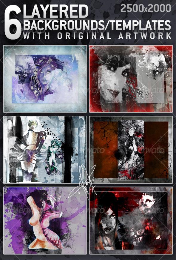 6 Layered Textures / Backgrounds with original art - Miscellaneous Print Templates