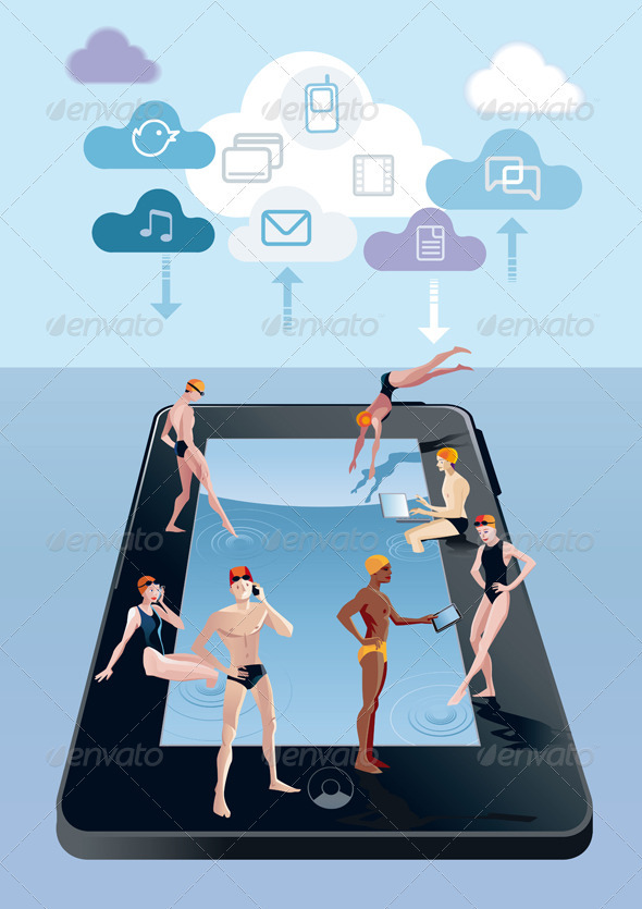 Digital Tablet As Swimming Pool Blue - Technology Conceptual