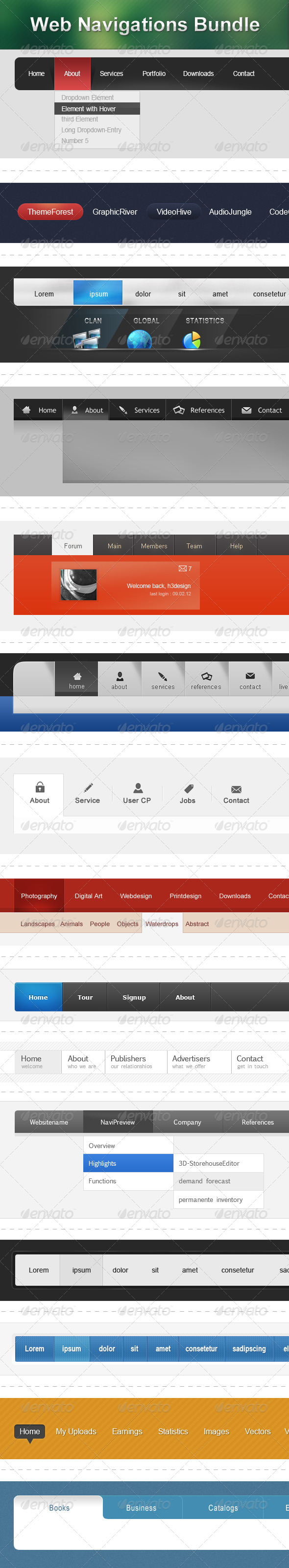 GraphicRiver Web Navigations Bundle 2021575