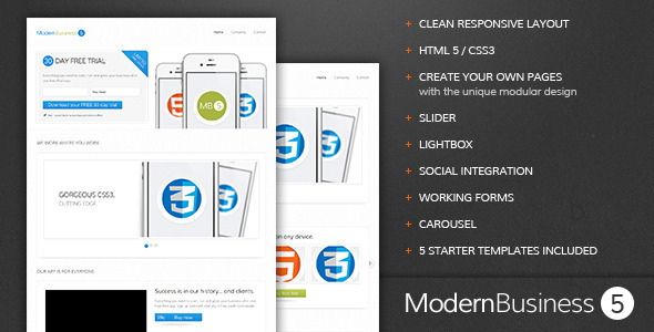 ThemeForest Modern Business 5 Responsive Landing Page Marketing Landing Pages 2021682