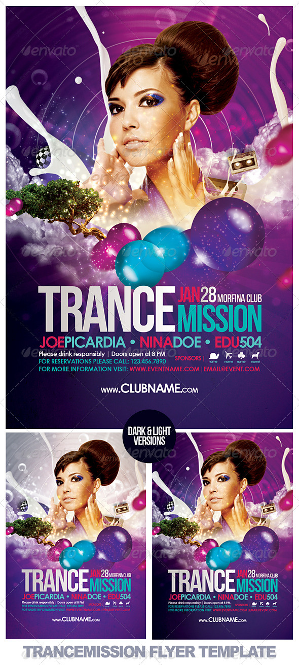 Trancemission Flyer Template - Clubs & Parties Events