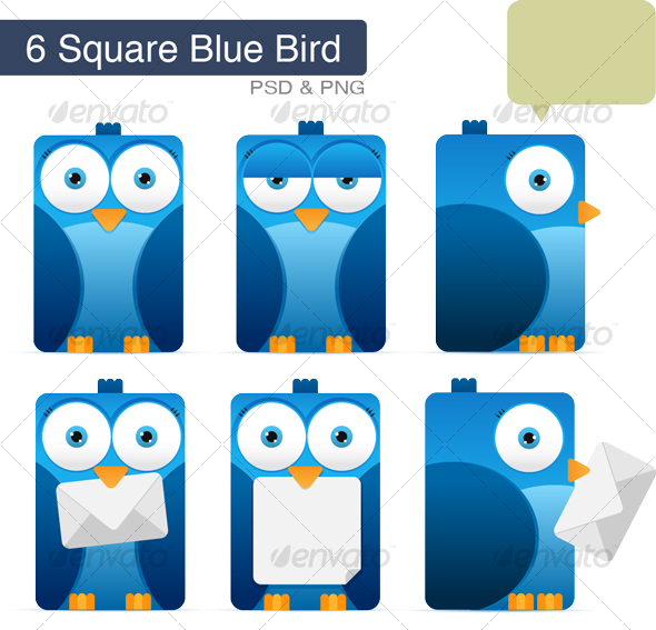 Square Blue Bird - Characters Illustrations