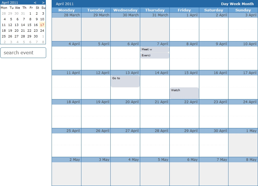 Monthly Calendar Using Javascript : Ocalendar jquery event calendar plugin by orcun codecanyon