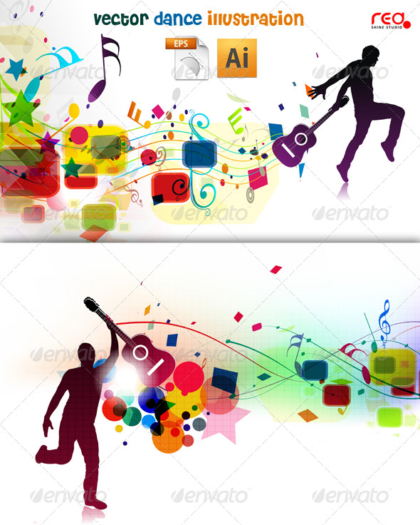 GraphicRiver Young Boy Dancing On Beautiful Music Background 235048