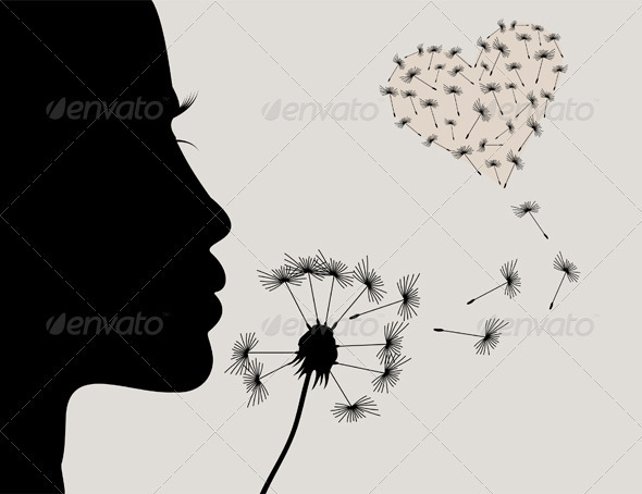Graphic River Girl and a dandelion2 Vectors -  Characters  People 2024230
