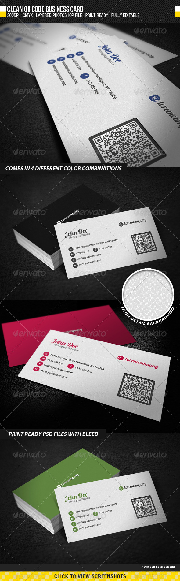 Clean QR Code Business Card - Corporate Business Cards