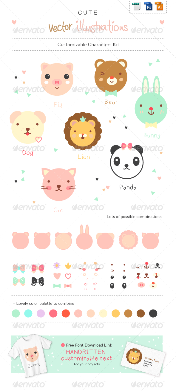 Cute Animals - Character Creation Kit - Animals Characters