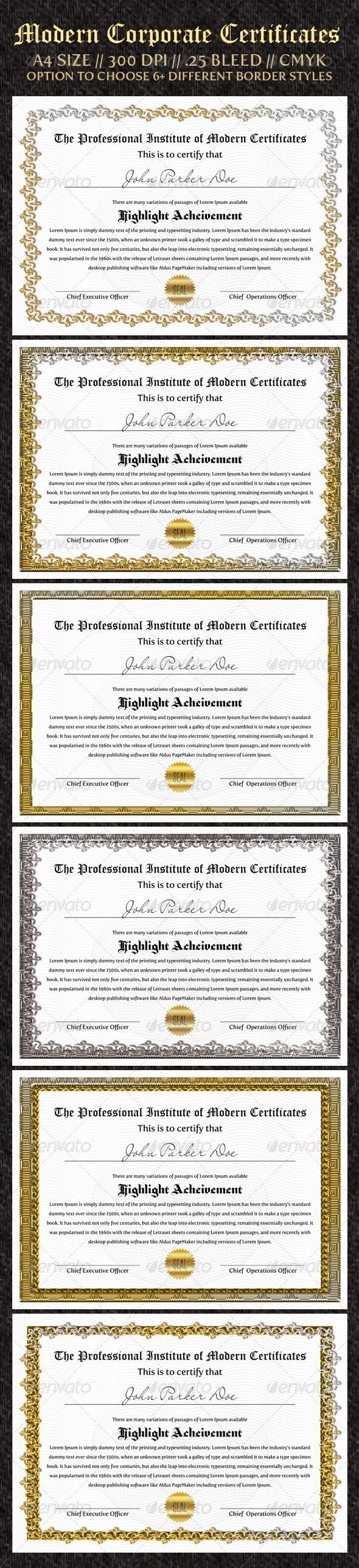 Download Corporate Certificates Print Design Template