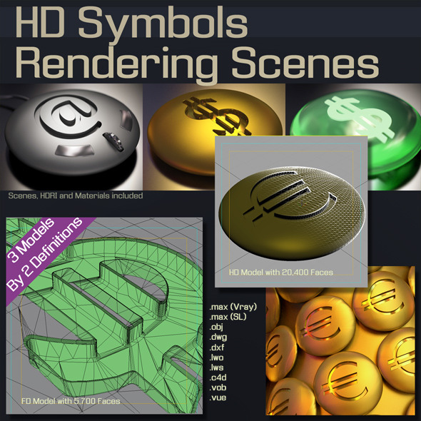 HD Symbols Rendering Scenes - 3DOcean Item for Sale