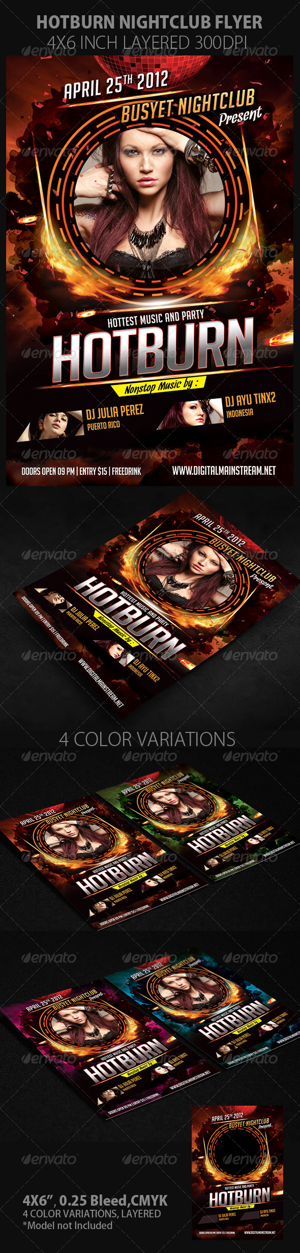 Hot And Burn Nightclub Flyer - Clubs & Parties Events