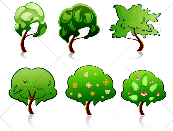Set of tree symbols - Flowers & Plants Nature