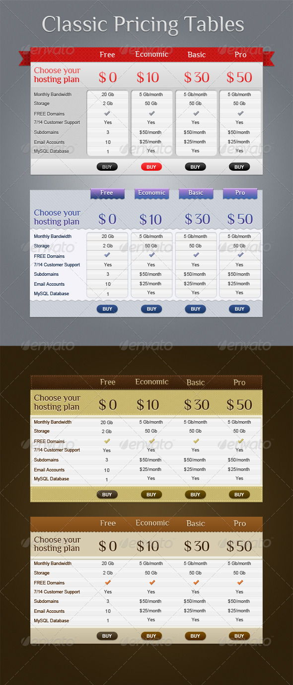 Classic Pricing Tables - Tables Web Elements