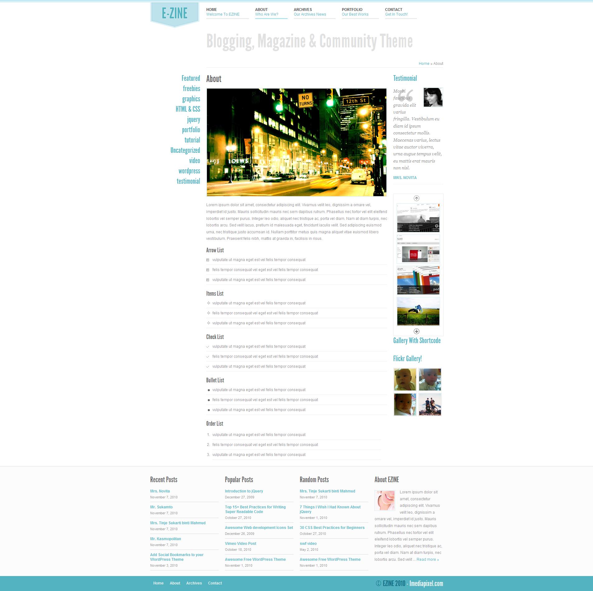 EZINE - 4 in 1 Wordpress Theme