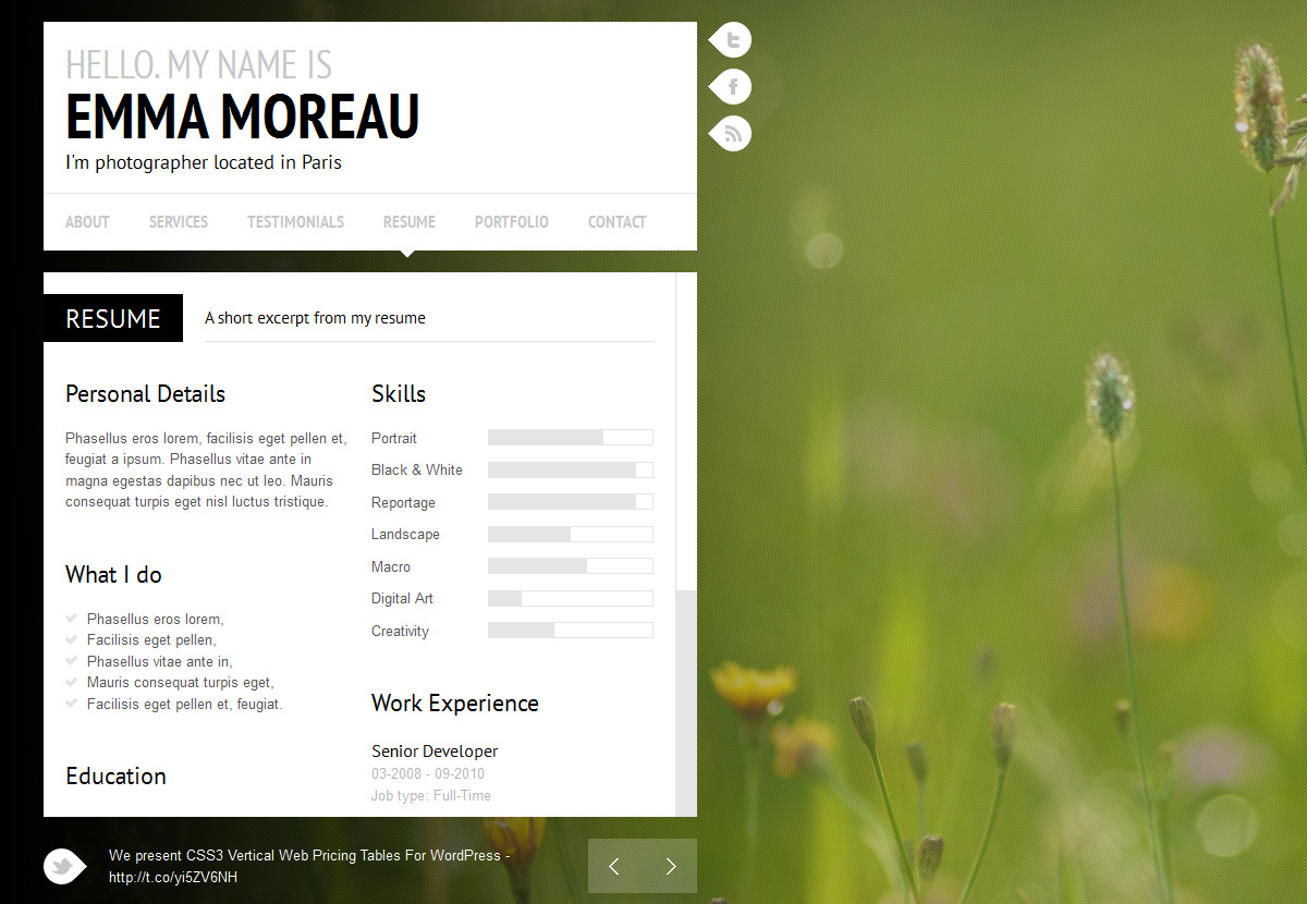 Monaco - Personal vCard Template