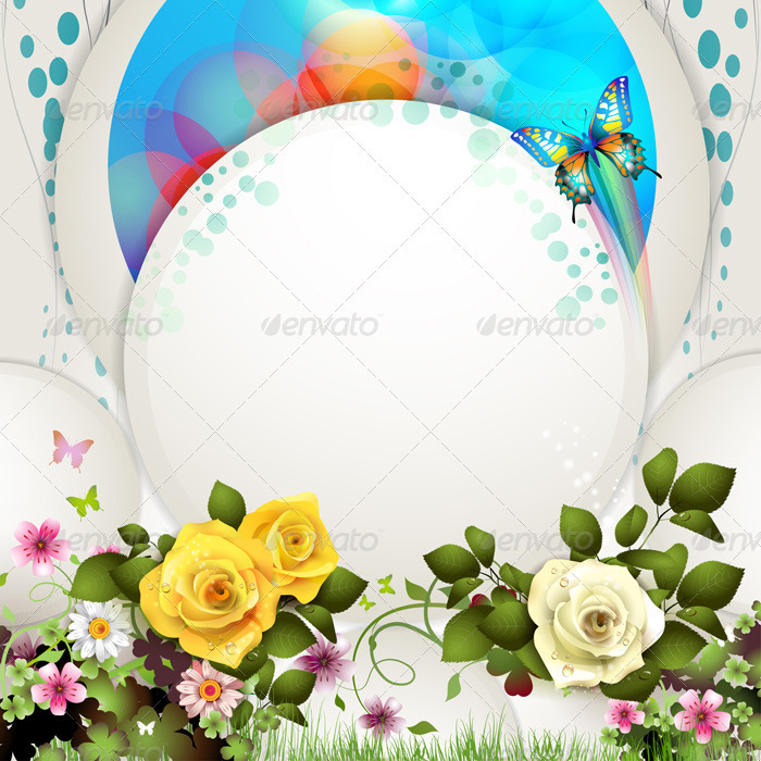 Background with Butterflies and Roses