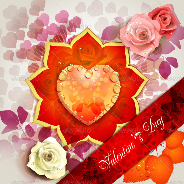 Valentine s Day Card with Hearts and Roses