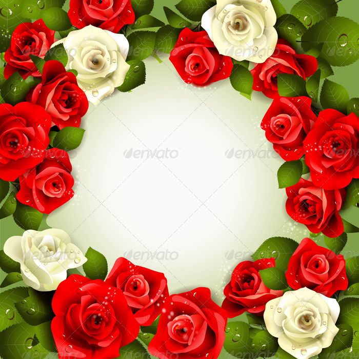 GraphicRiver Background with White and Red Roses 2032192