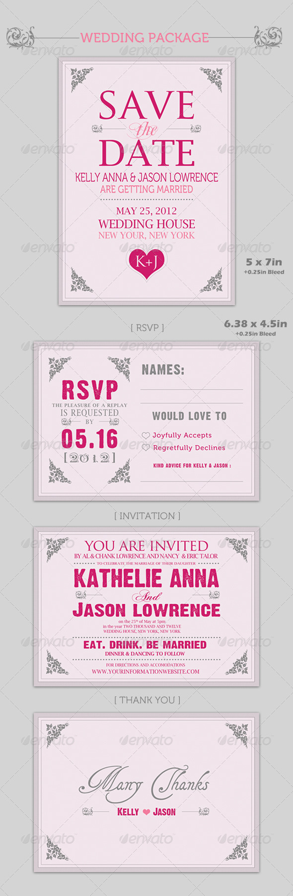 GraphicRiver Wedding Package [ 4 set ] Pinky Love 236193