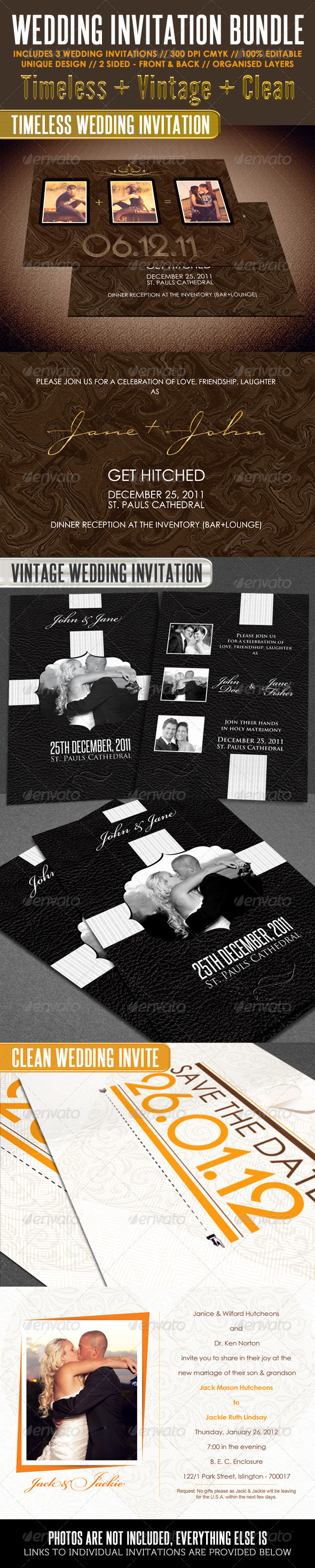 GraphicRiver Wedding Invitation Bundle 1362646