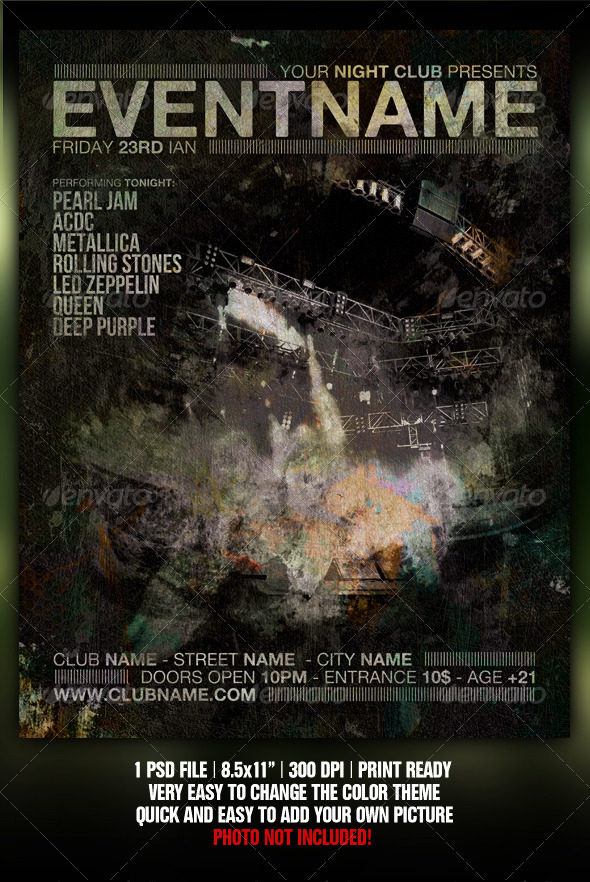 GraphicRiver Grunge Night Club Party Concert Flyer Poster V3 309191