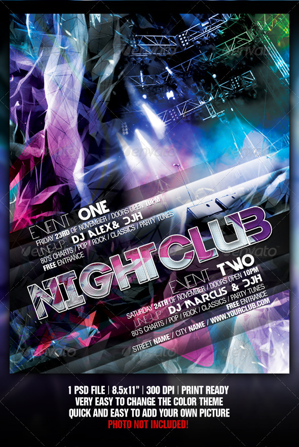 Abstract Night Club Party Concert Flyer Poster