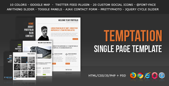 Temptation - a Single Page Template - Portfolio Creative