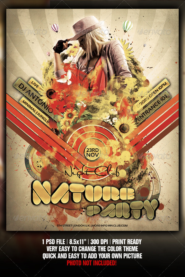 Retro Nature Party Flyer / Poster Template