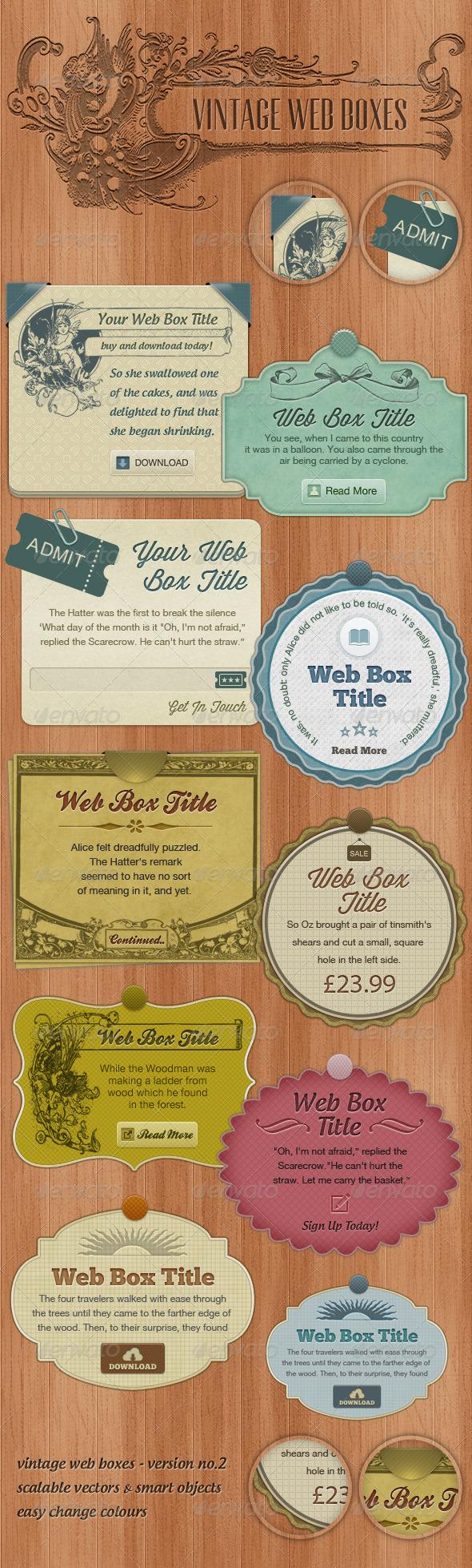 Vintage Web Boxes #2  - Miscellaneous Web Elements