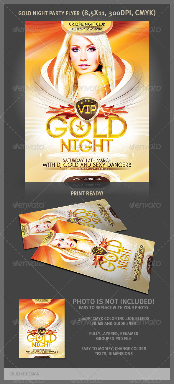 GraphicRiver Gold Night Party Flyer 1987241