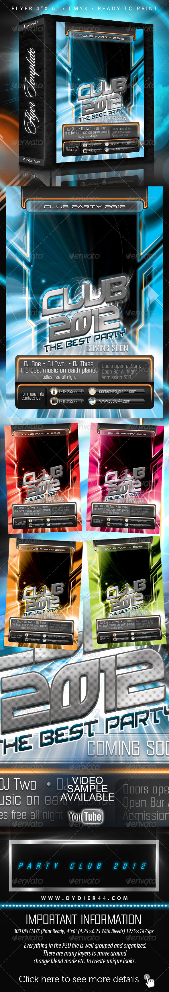 Party Club 2012 (Flyer Template 4x6) - Clubs & Parties Events