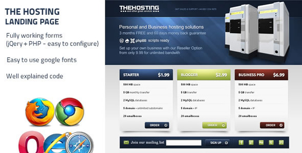 ThemeForest The Hosting Landing Page 234458