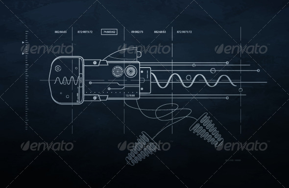 GraphicRiver Drawing mechanism on a dark background 236719