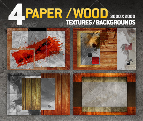 GraphicRiver 4 paper wood textures backgrounds 77639