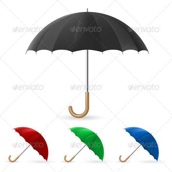 GraphicRiver Realistic umbrella in four colors 2040443