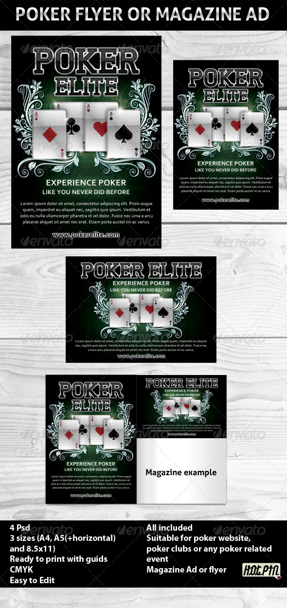 Poker Magazine Ads or flyers Template 2 - Sports Events