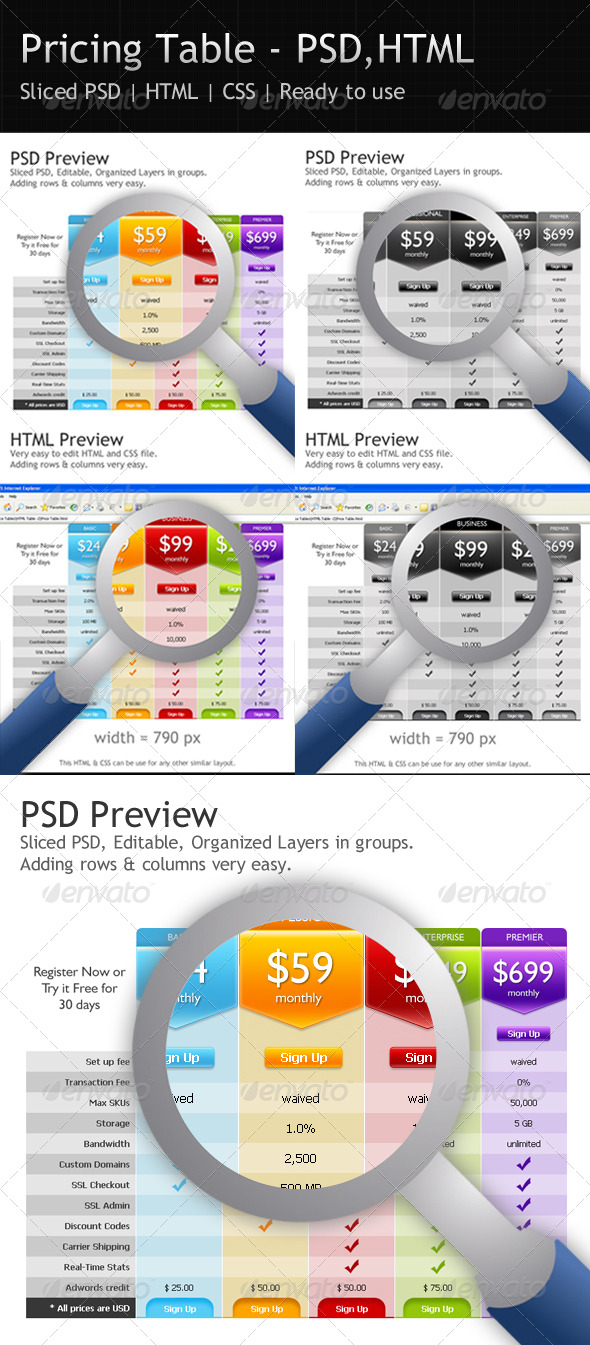 Pricing Table - PSD - HTML - CSS - Web Elements