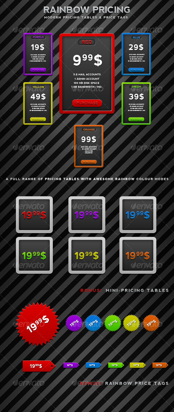 GraphicRiver Rainbow Pricing 77777