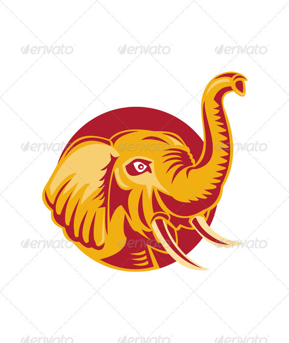 Graphic River Angry African Elephant Head Retro Vectors -  Characters  Animals 2043539