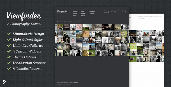 Viewfinder Photography WordPress Theme - ThemeForest Item for Sale