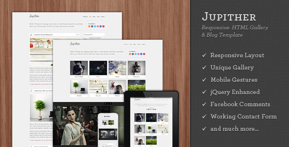 Jupither - Responsive HTML Gallery & Blog Template - Photography Creative