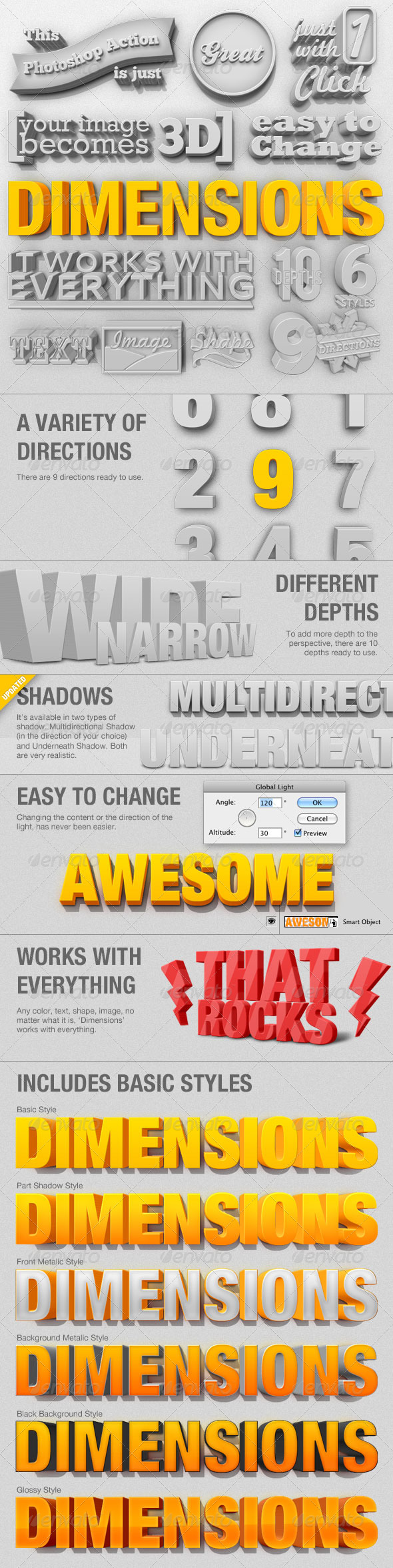 Dimensions - 3D Generator Action - GraphicRiver Item for Sale