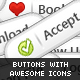 21 Premium Buttons with awesome icons!