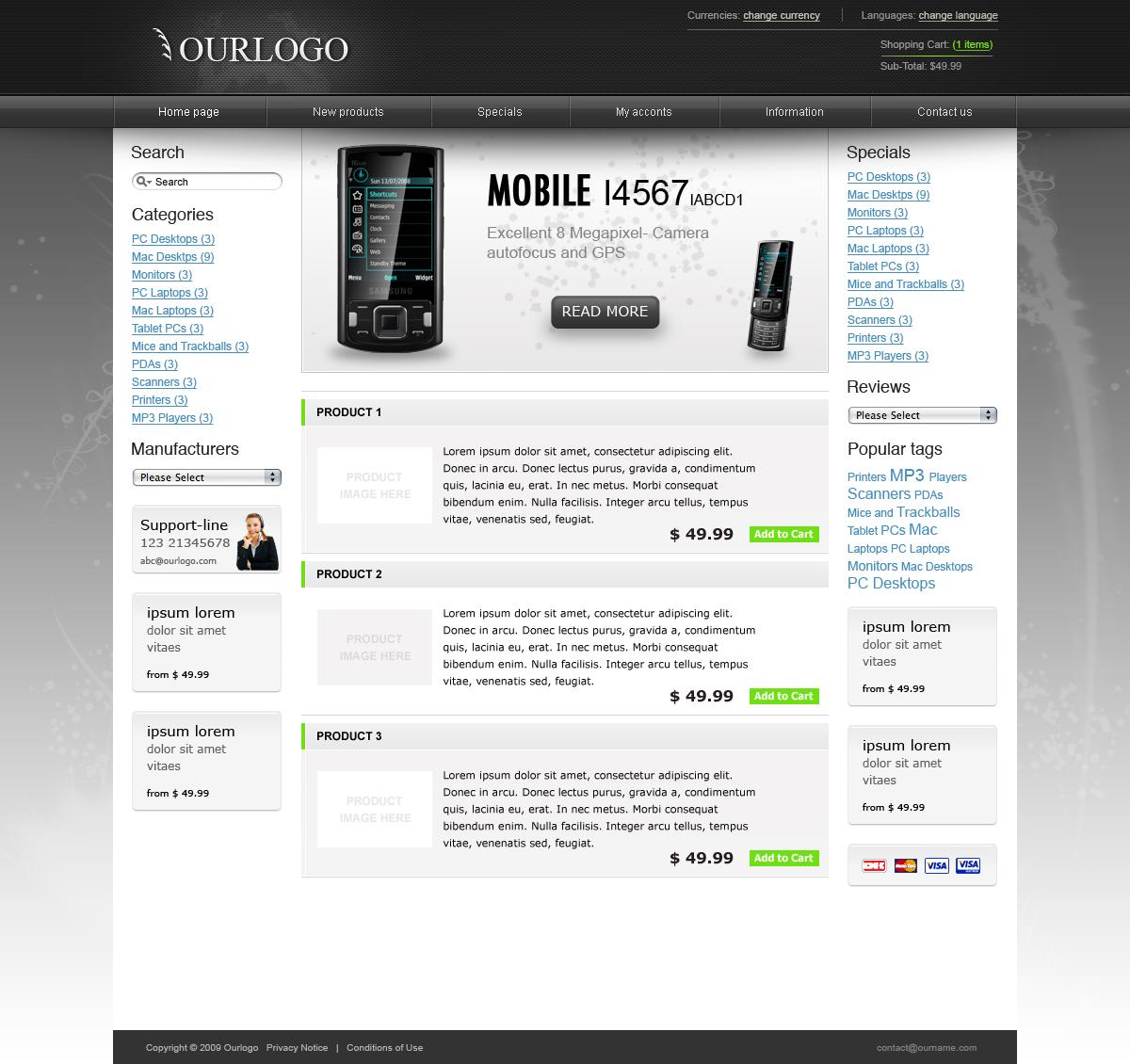 Modern E-commerce web-shop theme - 3 colors
