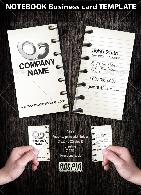 Notebook Business Card template  - Creative Business Cards