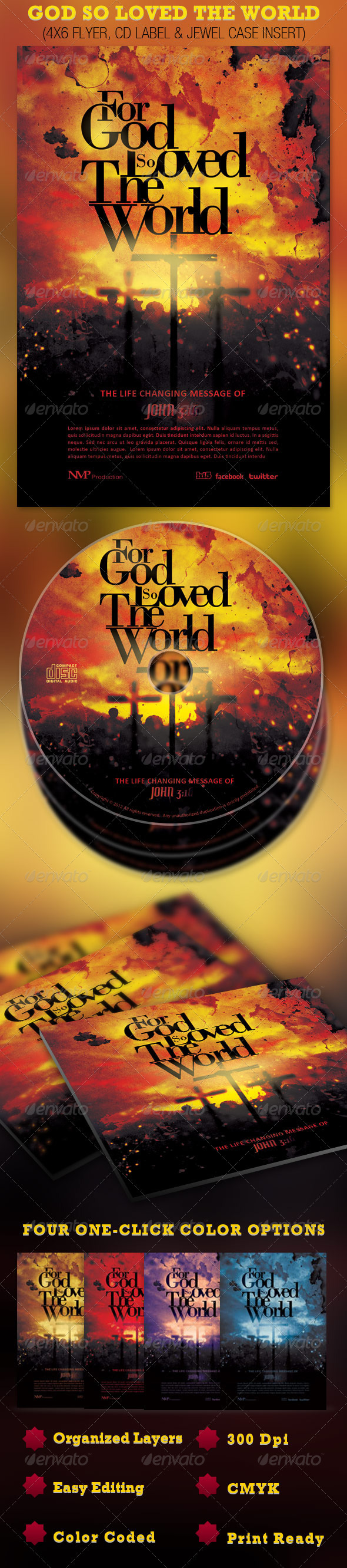 God So Loved The World Flyer and CD Template - Church Flyers