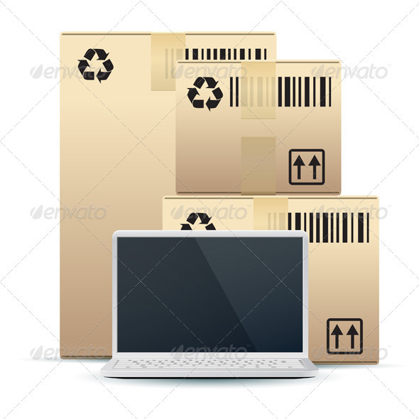 Laptop with Cardboard Boxes Isolated on White