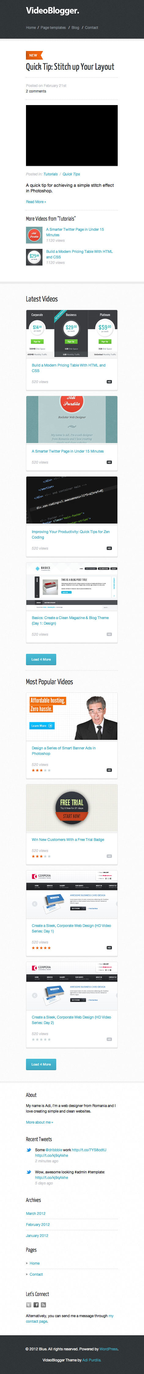 VideoBlogger - Responsive HTML Video Blog Theme - VideoBlogger - Homepage viewed on a smartphone size screen